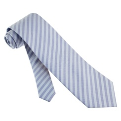 Palermo Stripe Extra Long Tie by Principessa Regale -  Light blue Silk